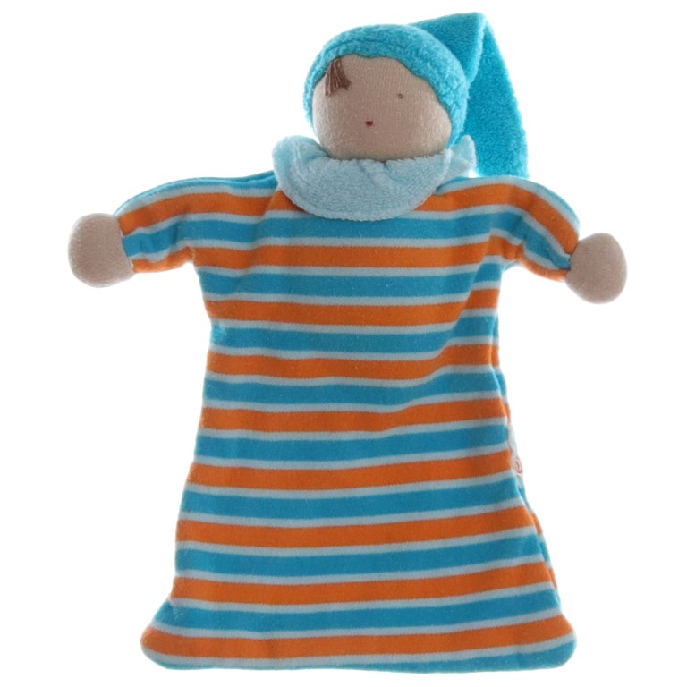 Alana Wichtel Puppe in blau orange Schmusetuch Kuscheltuch Plüsch Tier 22cm